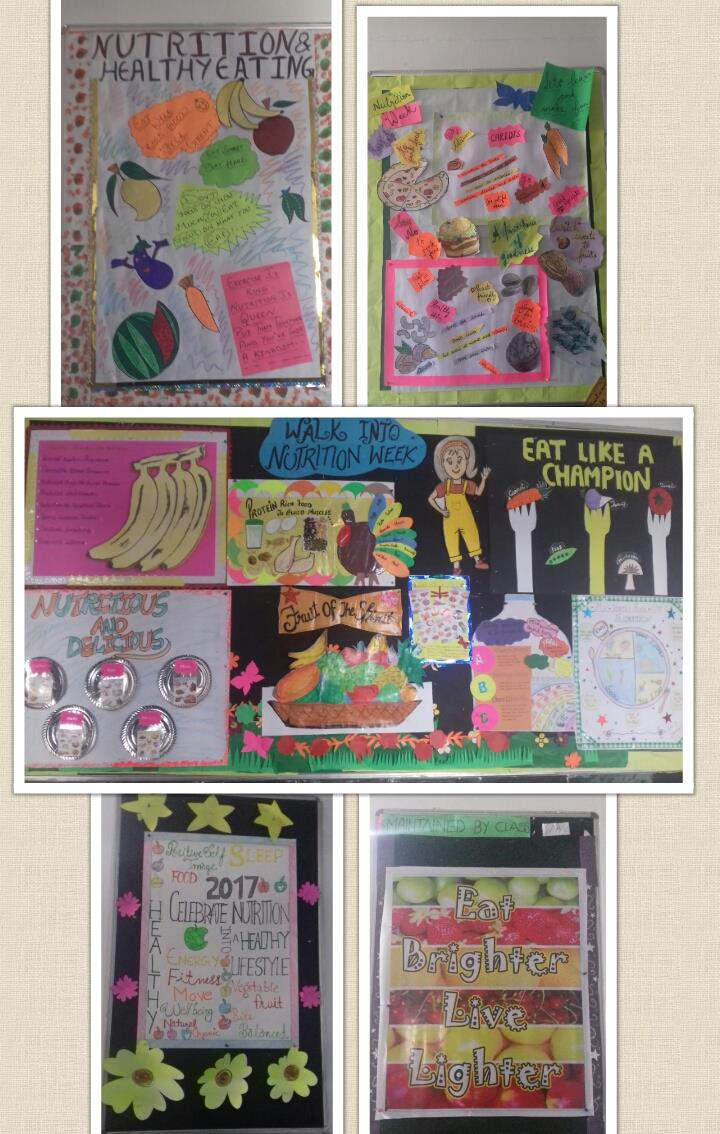 Glimpses of boards decorated for Nutrition week
